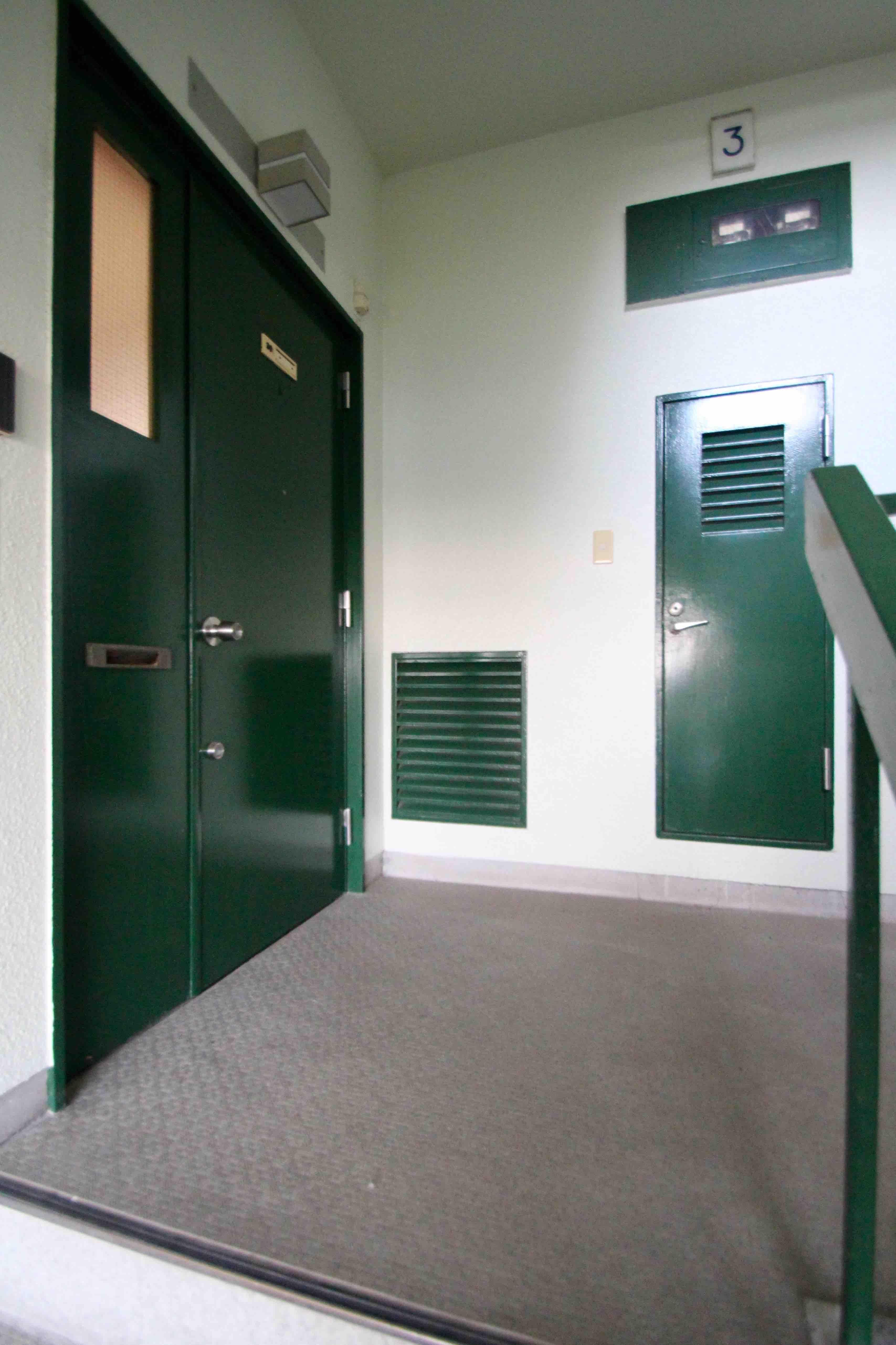 緑に統一されたレトロなドアやパイプスペース、手摺