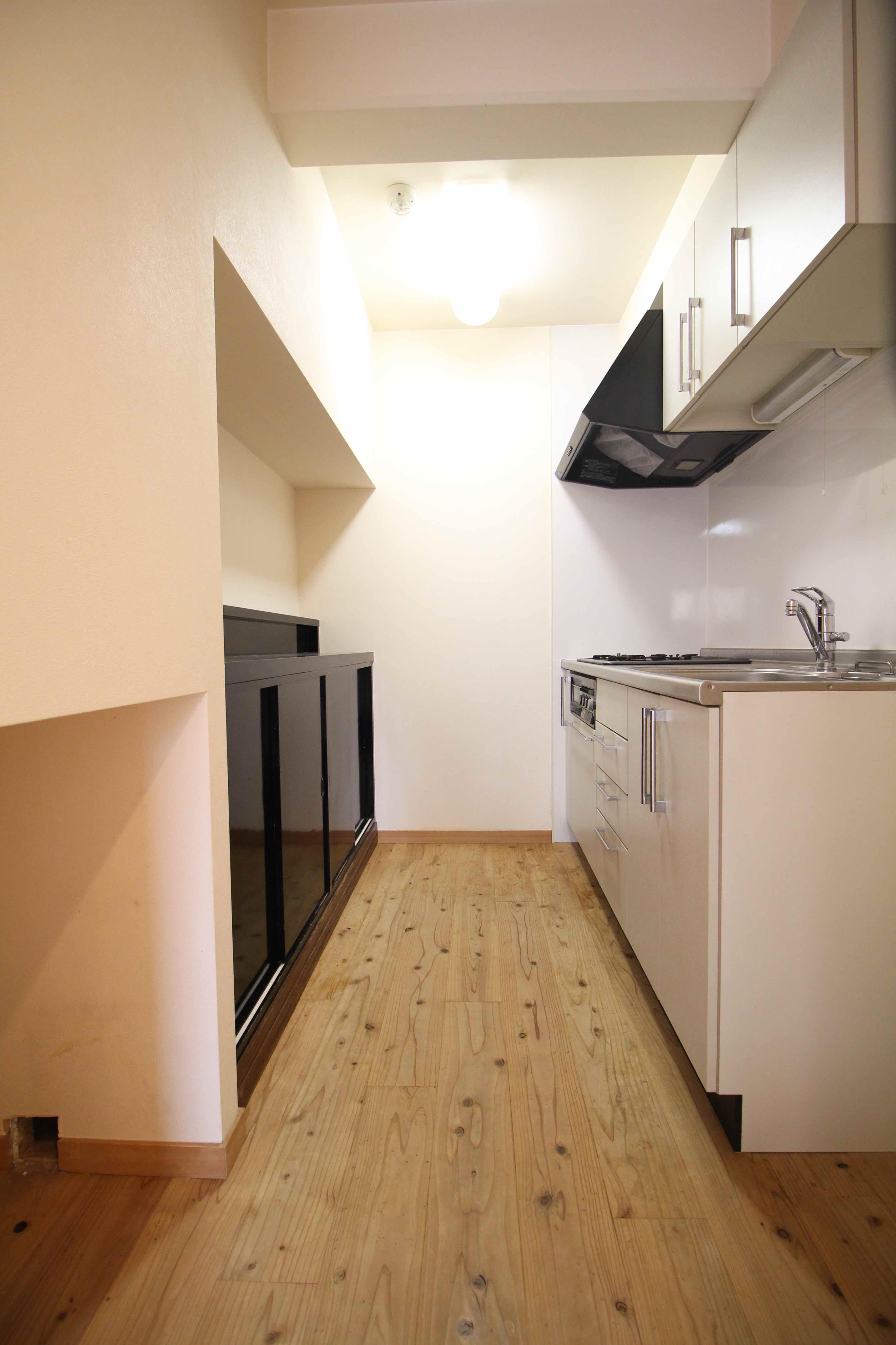 ワンルームでもキッチンはゆったり広め