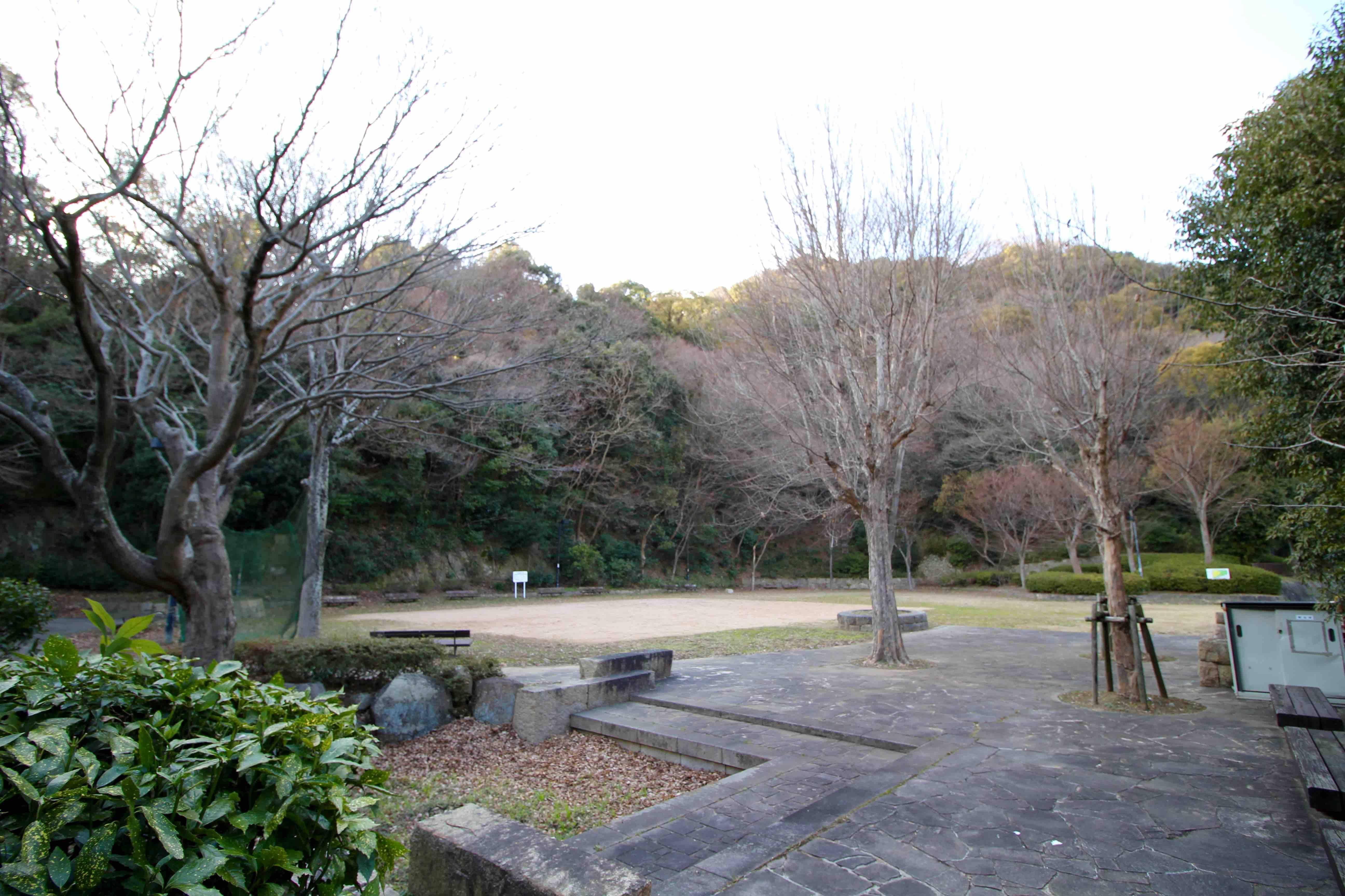 山に囲まれた平野展望公園(現在は平野コープ農園もこの公園内にあります)