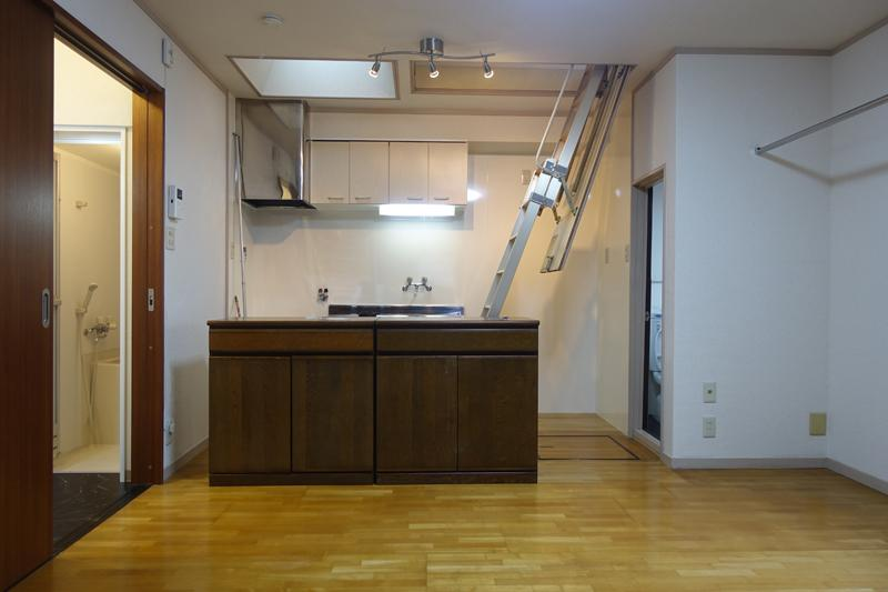 LDK、キッチンに収納式の階段有!