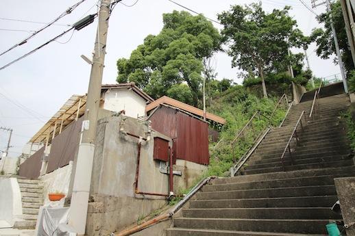 東側は階段。木の生えた山のような土地も含まれる