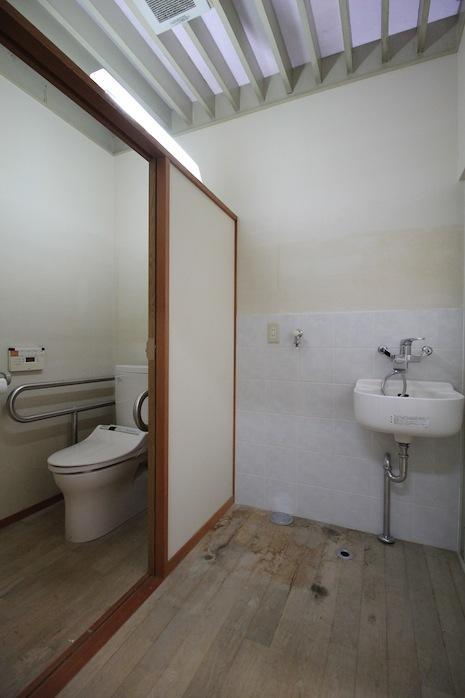 脱衣場とトイレ。半透明の天井が明るさを演出