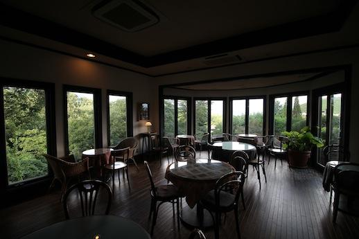1階カフェから一面ミドリ。