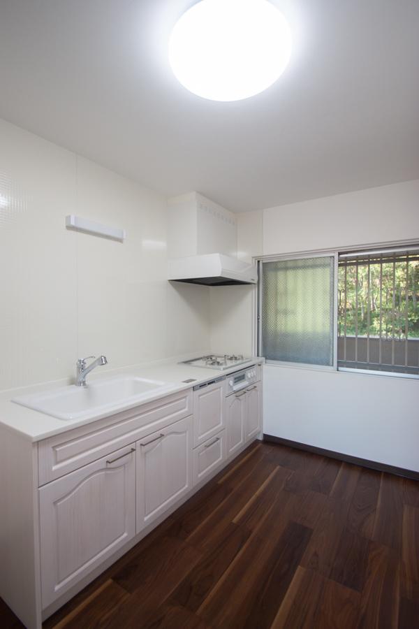 白いキッチン、窓から緑