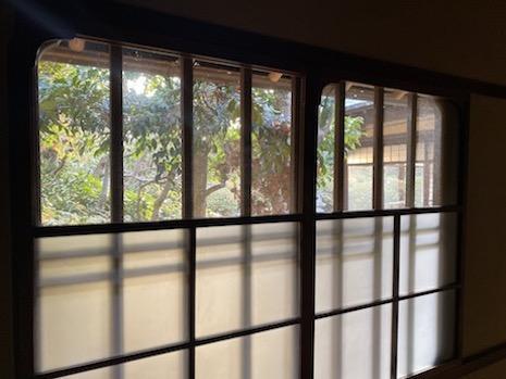 透明ガラスに切り取られる借景に見惚れる。