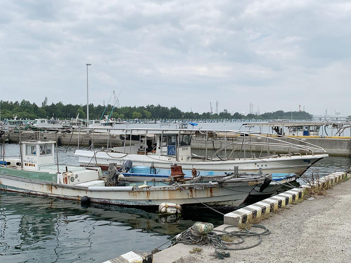 歩いてすぐの漁港