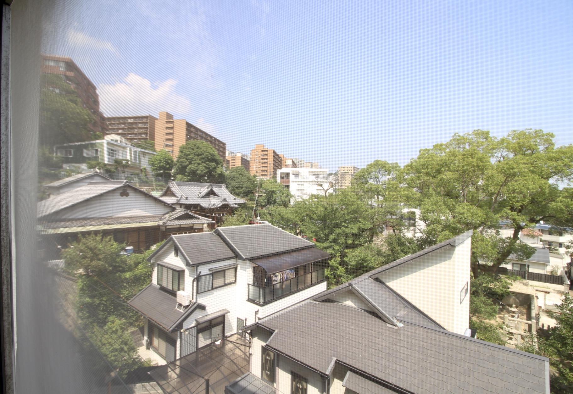 北側和室から神社の木々が見えます