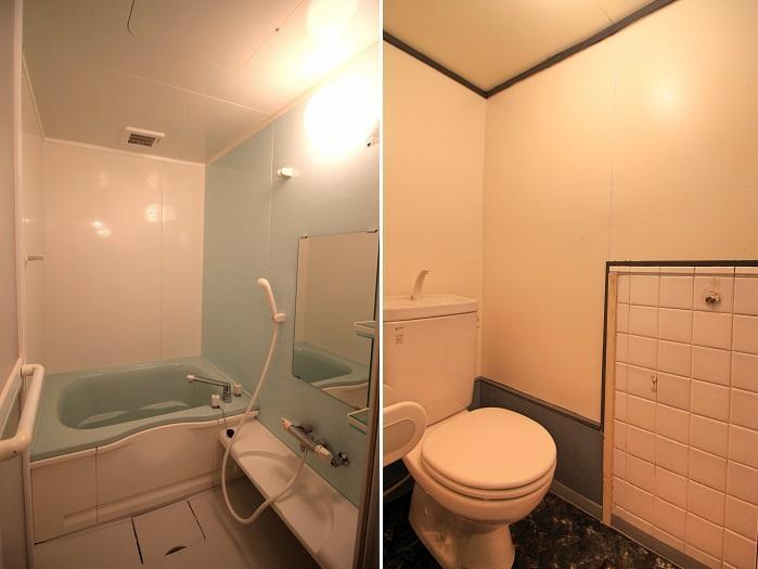 トイレに残されたタイルが良い感じ