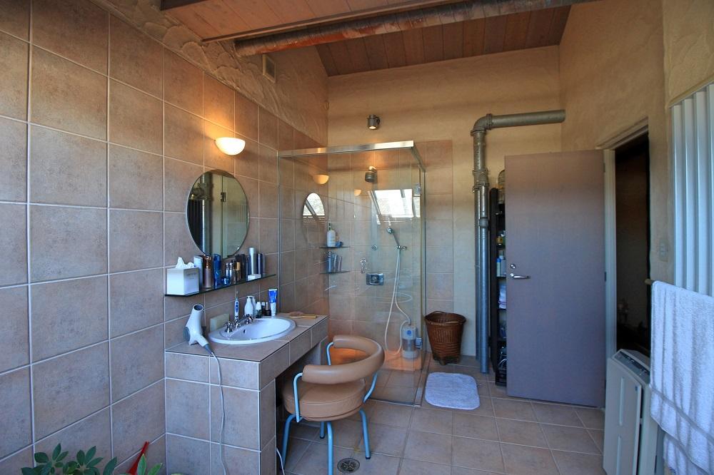 天井は木材、ドレッサーとシャワーブースもあります