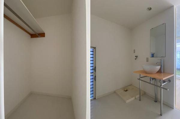 部屋に挟まれる形で、収納と洗面所
