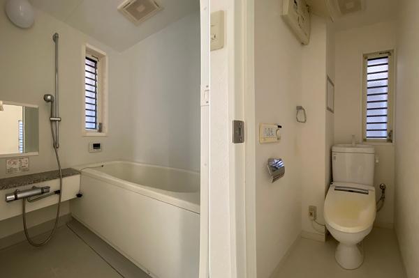 部屋に挟まれる形で、風呂とトイレ