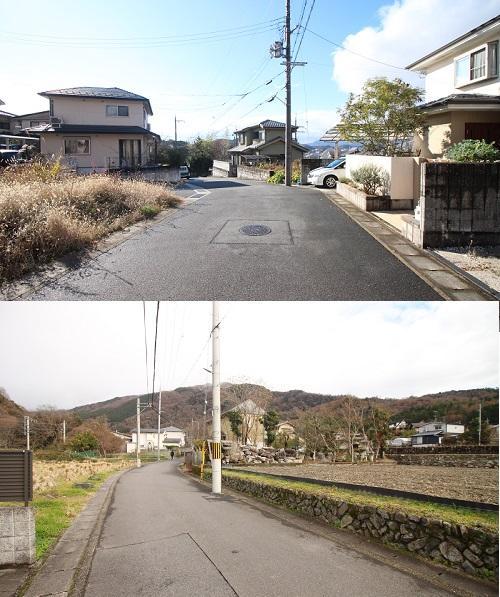 上が前面道路、下が駅からの道中。