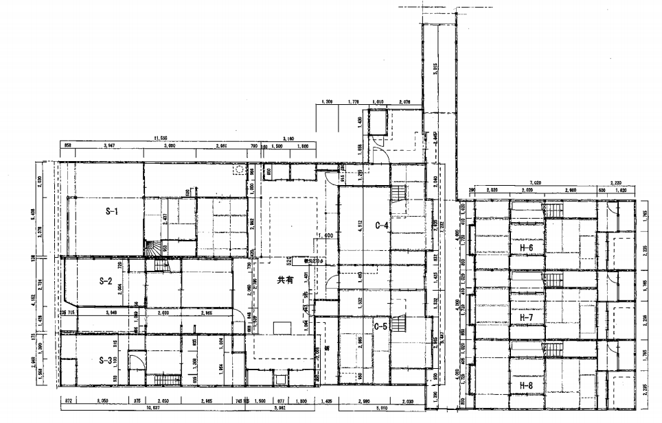 こちらが1階の敷地図。中心にある路地の左側が対象エリア。