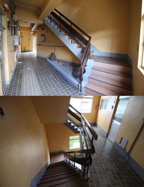屋上への階段。床のタイルが良い感じです。