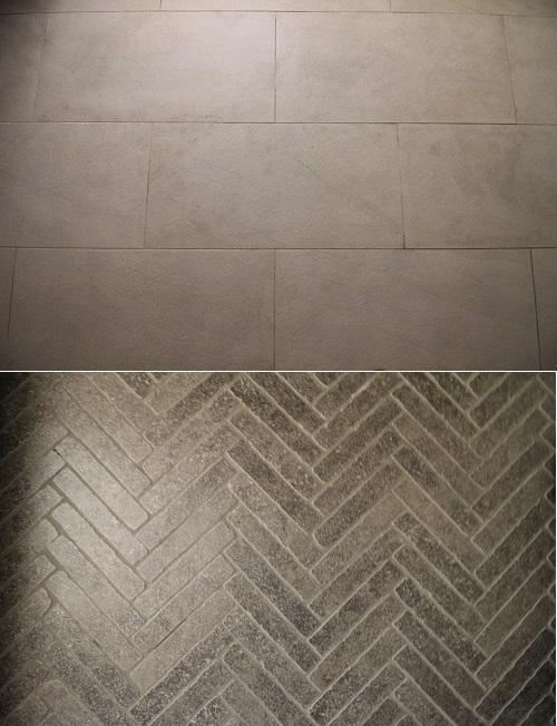 床材のタイル。上がリビングで下が玄関。