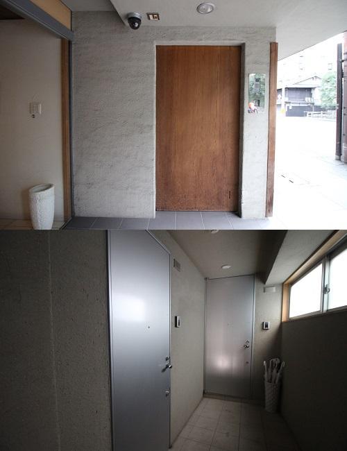 上:オートロック 下:計2戸の玄関