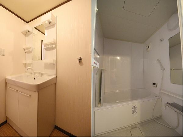 清潔感のある洗面所とお風呂。