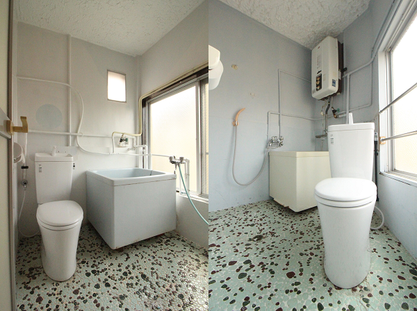 バス&トイレです。左:ピンク、右:ミントグリーン。