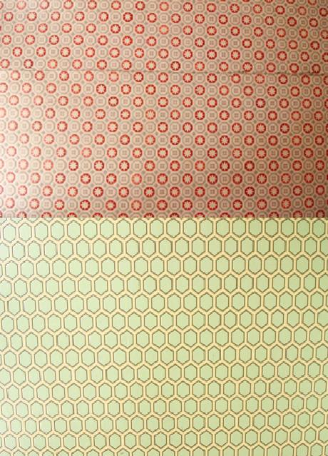 床の柄です。上:ピンク、下:ミントグリーン。