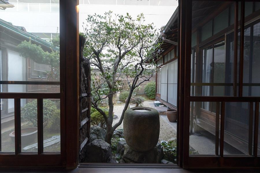 渡り廊下から見る中庭