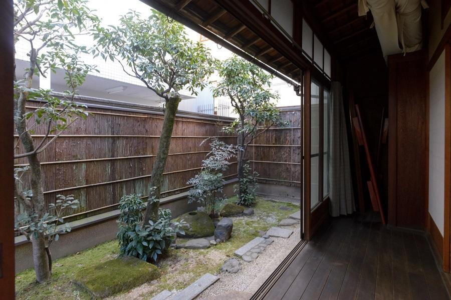 離れの南側にも庭が続きます。廊下の奥は書院