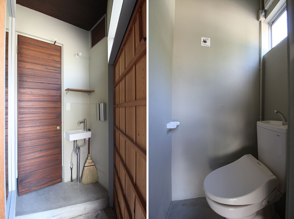 小スペースを巧く活用した洗面所とトイレ