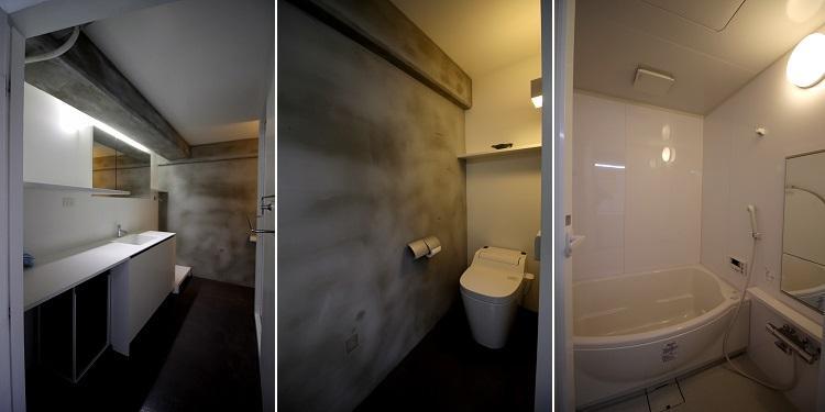 長い洗面の右奥にトイレ