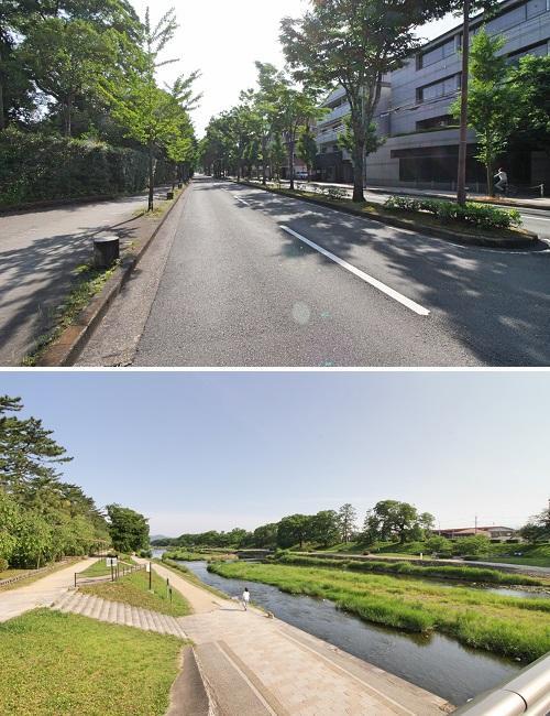 緑の多い北山通をまっすぐ行けば加茂川にでます