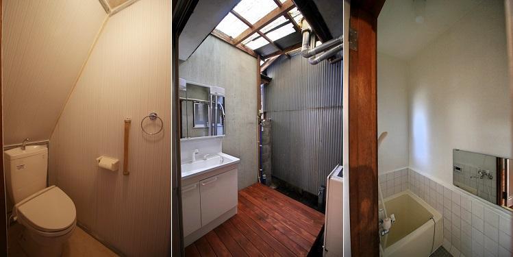 洗面と洗濯機置き場は半外、浴槽は正方形
