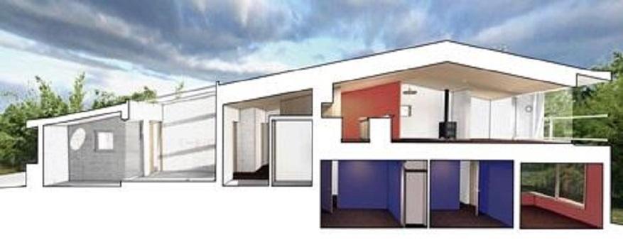 傾斜を活かした設計に。屋根もコンクリートで施工。