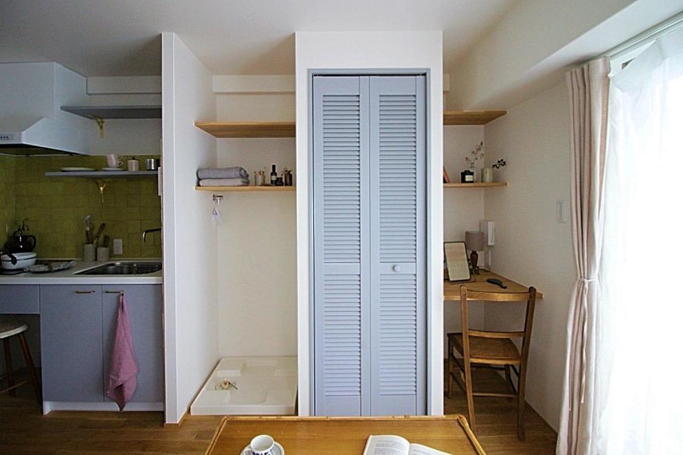 キッチン、洗濯機置き場、収納、デスク、の関係性です。