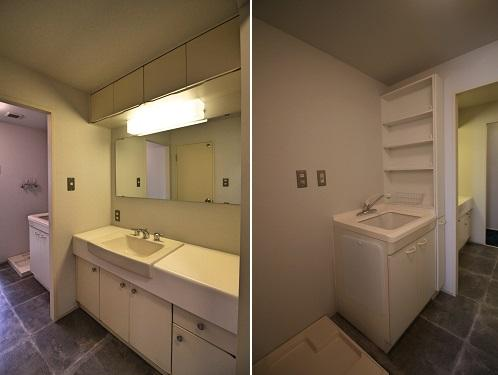 洗面台と洗い場が別にあります
