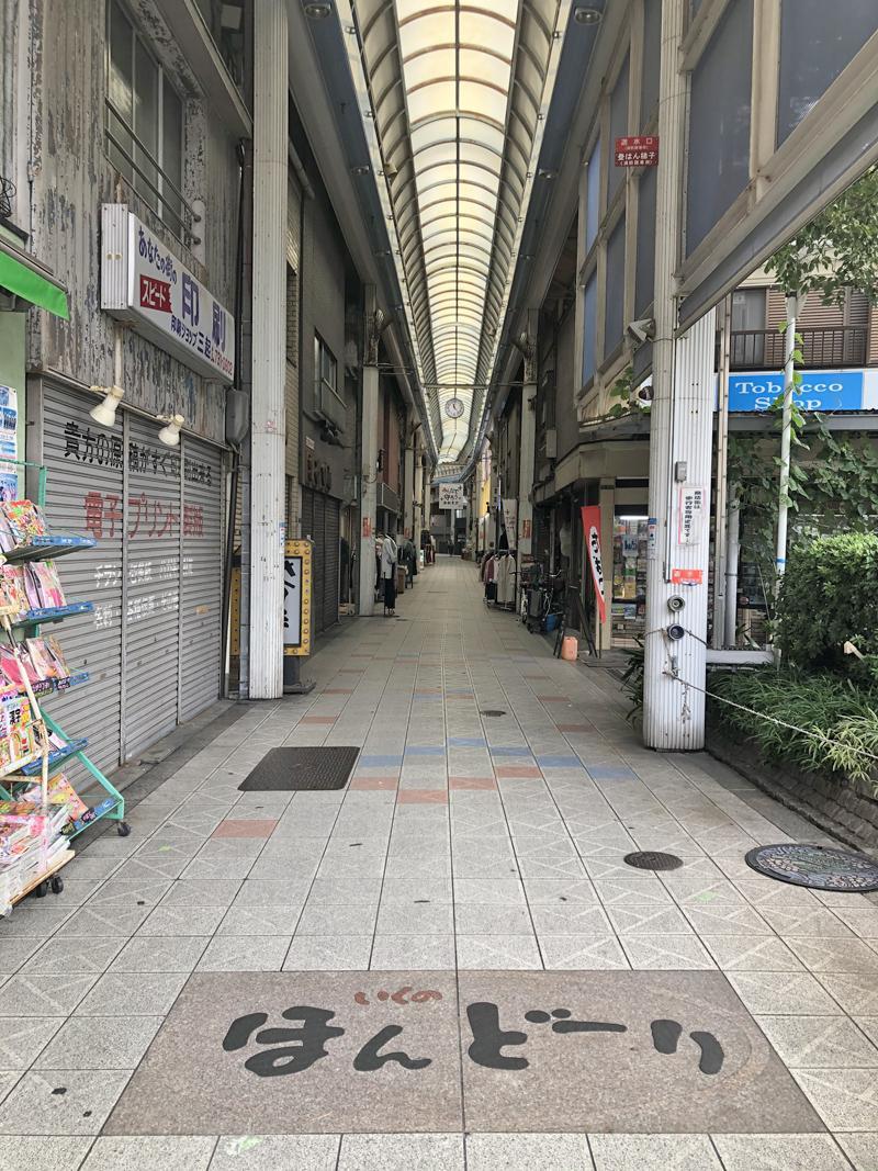 寺田町駅からは商店街を通って