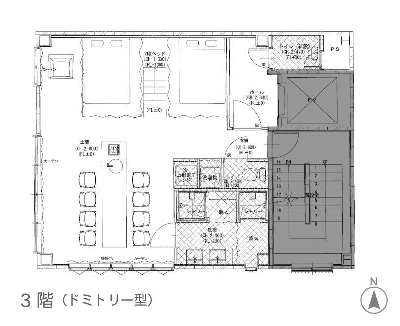 3階図面。こちらも洗面とシャワーブース2つで、2段ベッドの部屋