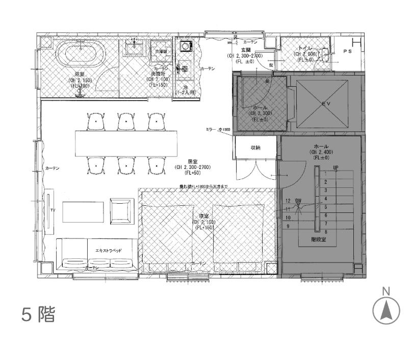 5階図面。この区画は浴室があります