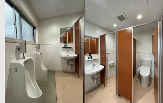 共用の男性トイレ(4階)。改装されて設備は新しくなっています