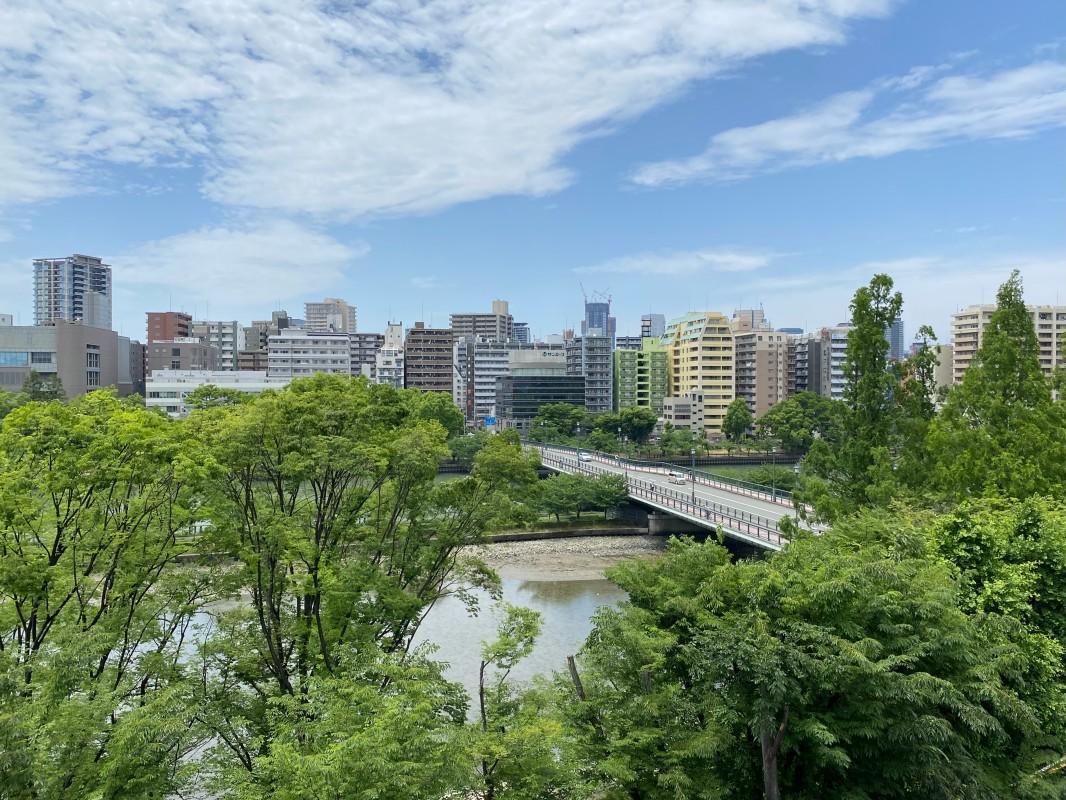 ゆったりと流れる大川。春には桜とのコラボレーションが楽しめます。