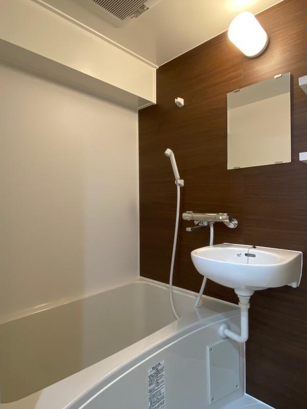 一人暮らしにはゆったりの浴室。洗面の機能も兼ねています。