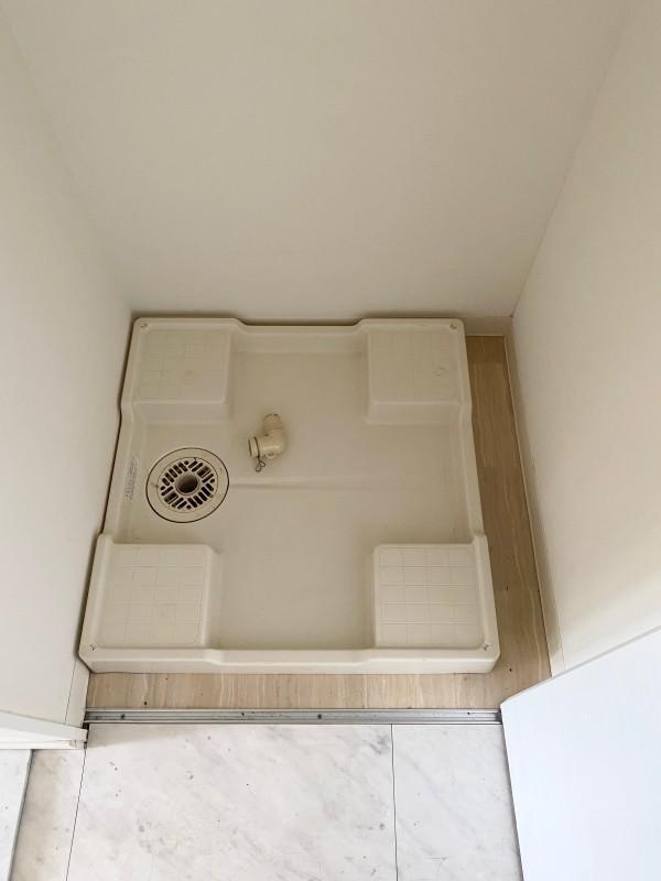 室内洗濯機置き場。扉で隠すことができます。