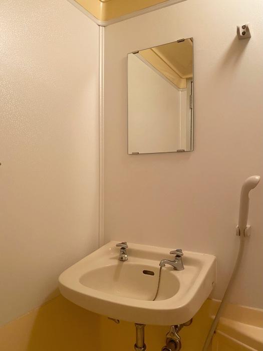 浴室と一体の洗面台。お風呂に入った後は使いづらいです。