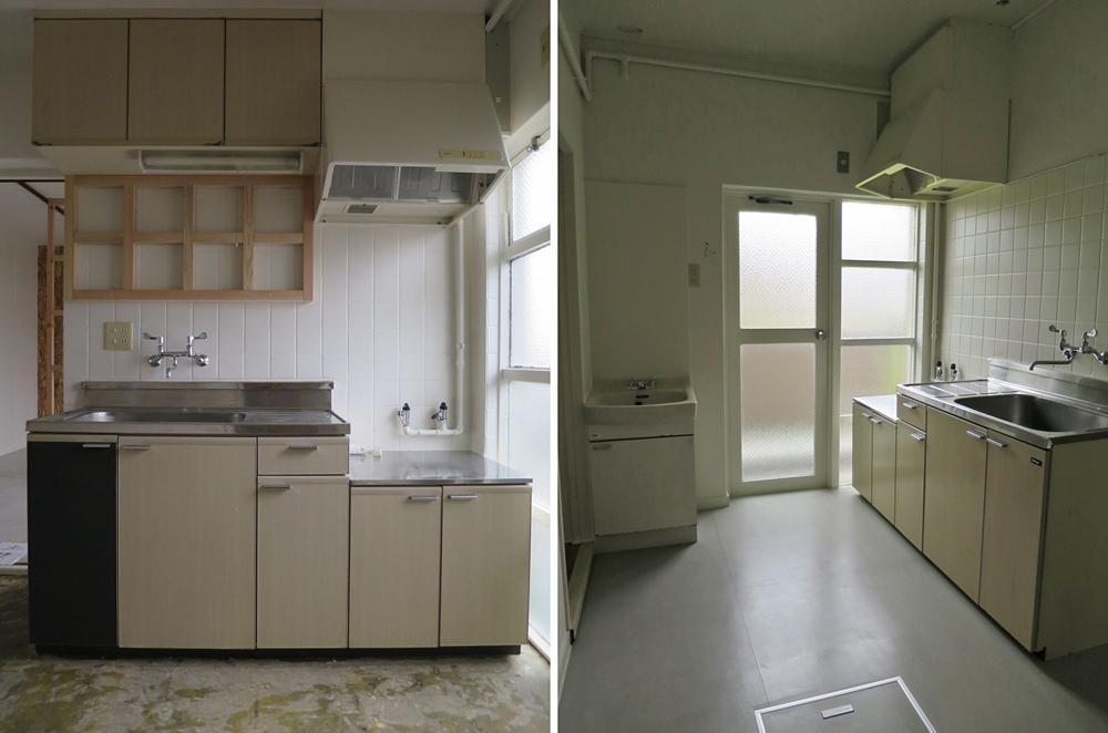 キッチンは必要最小限の設備。左:ビギナープラン、右:セミプロプラン