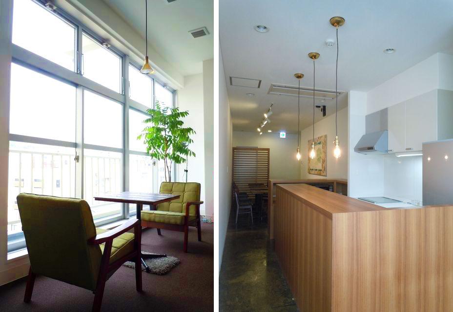 3階のカフェスペースとキッチン