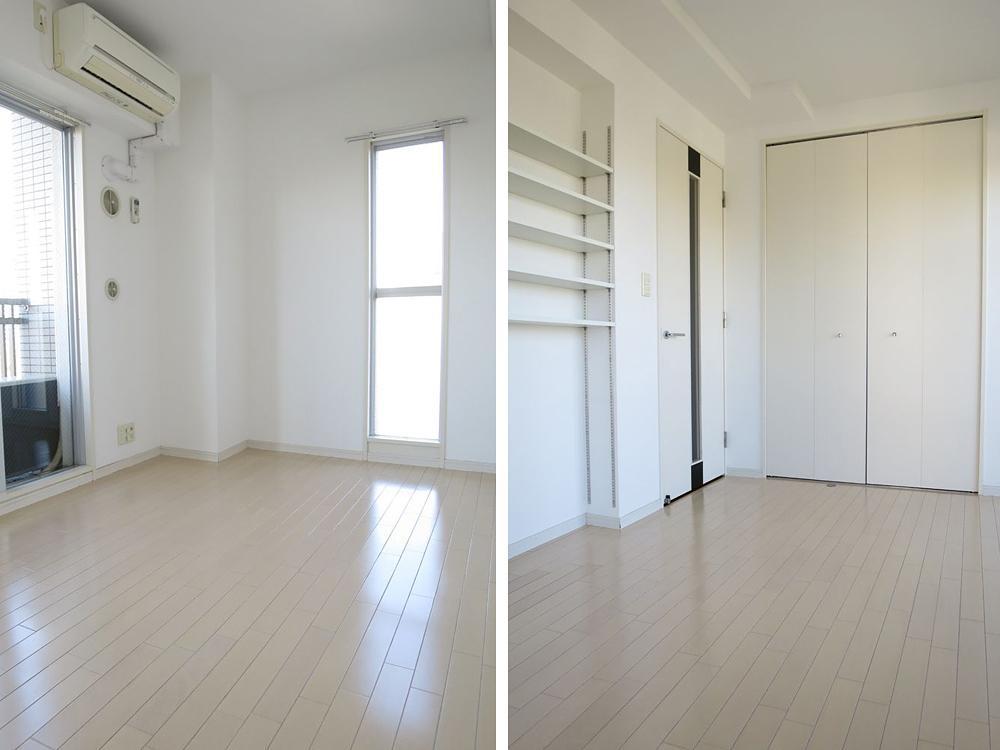 白っぽい内装の室内。