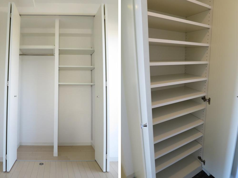 クローゼットに靴箱、棚とワンルームなのに充実の収納です。