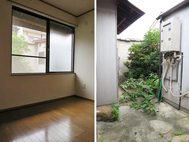 中庭に面した奥の洋室と中庭。緑をたくさん置いたらいい雰囲気になりそう。