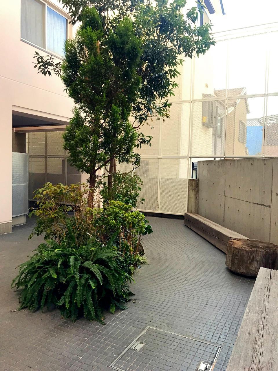 中庭奥にあるベンチと植栽