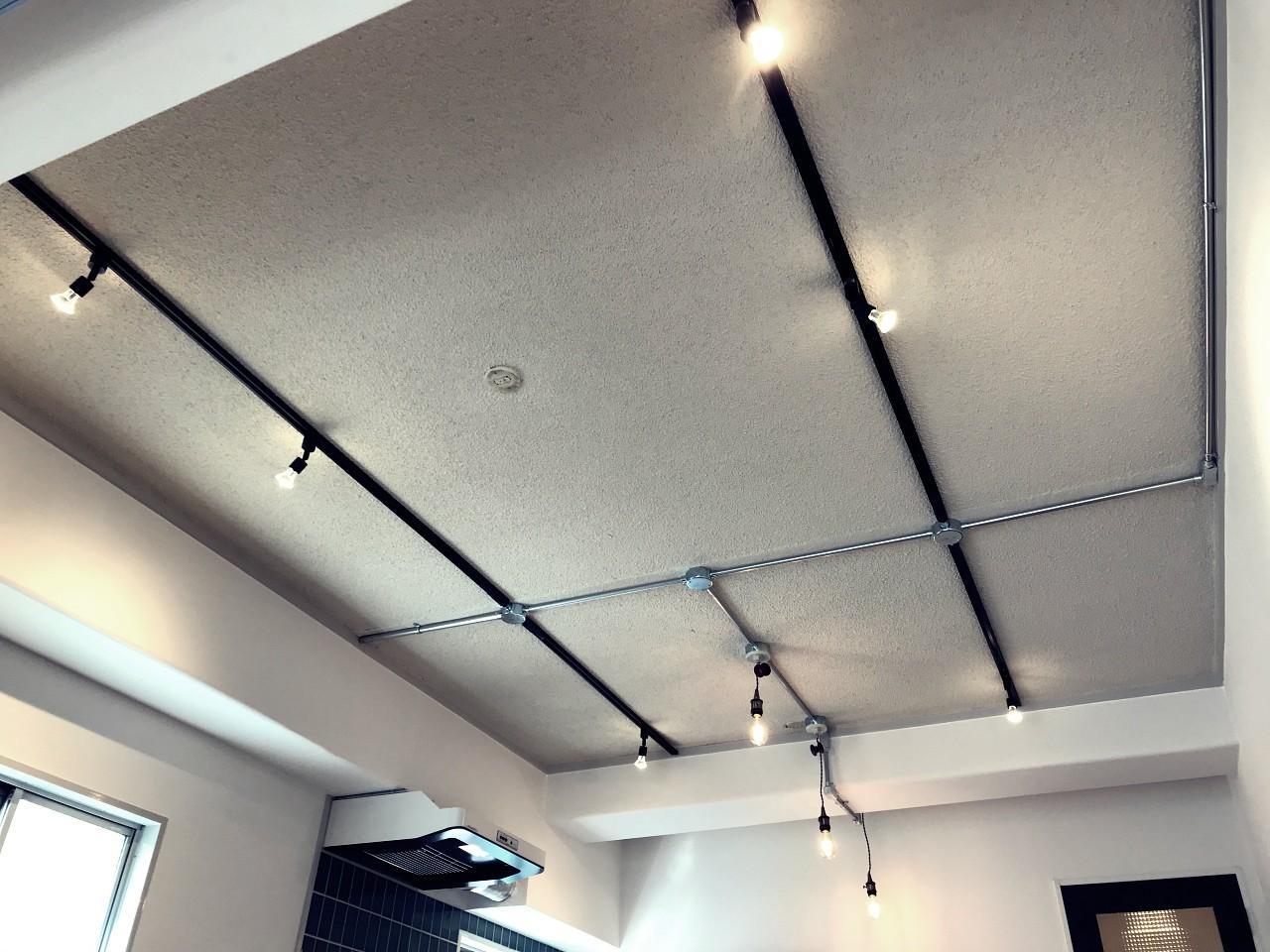 むき出しの天井にはダクトレールを