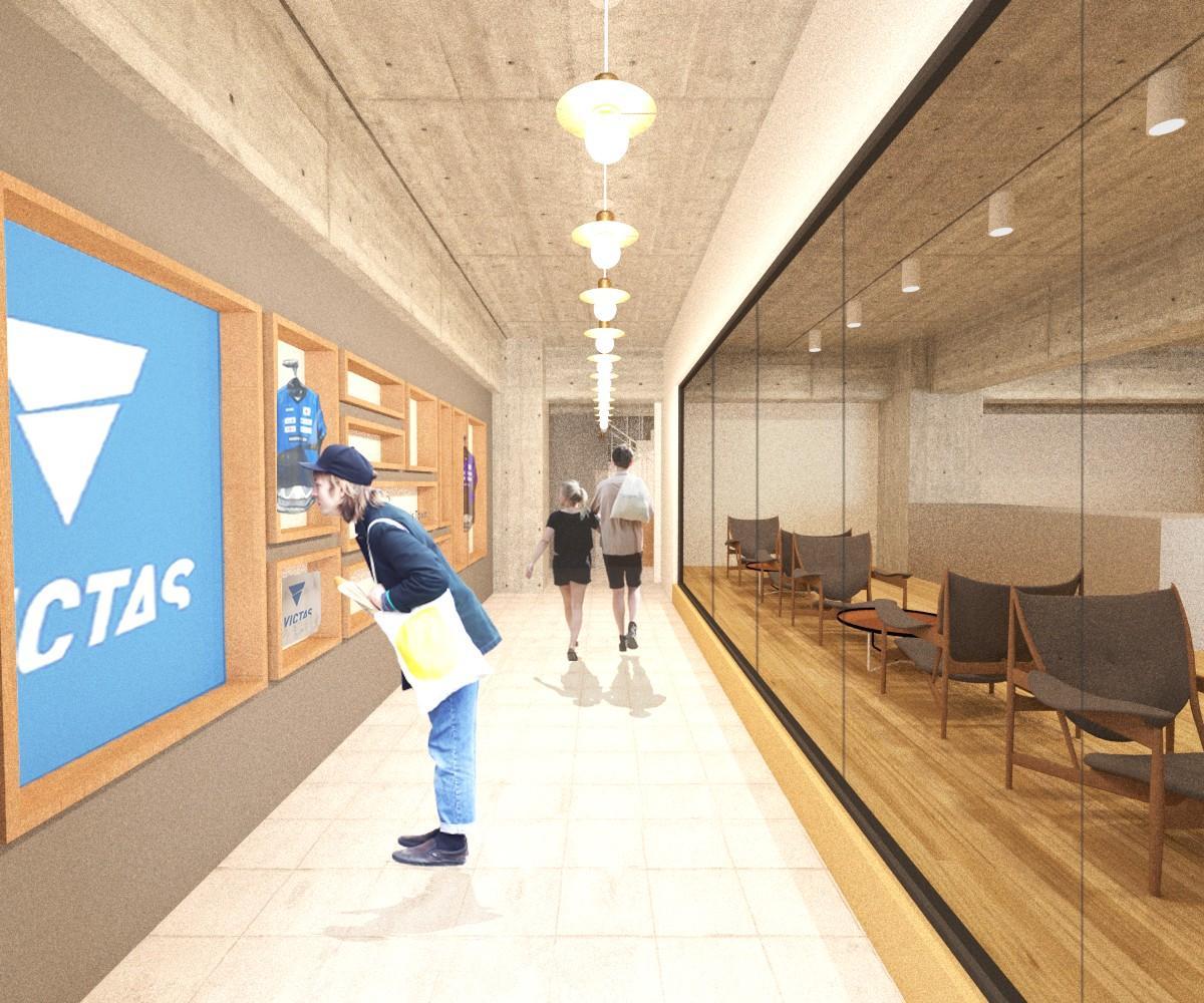 共用廊下のイメージ。オフィスビルとは思えません