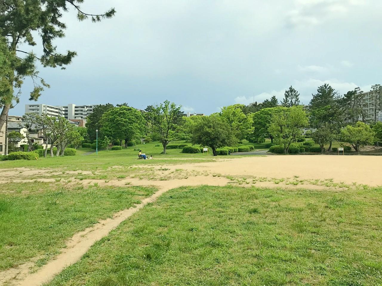 公園はかなりの広さ。奥に林が続きます