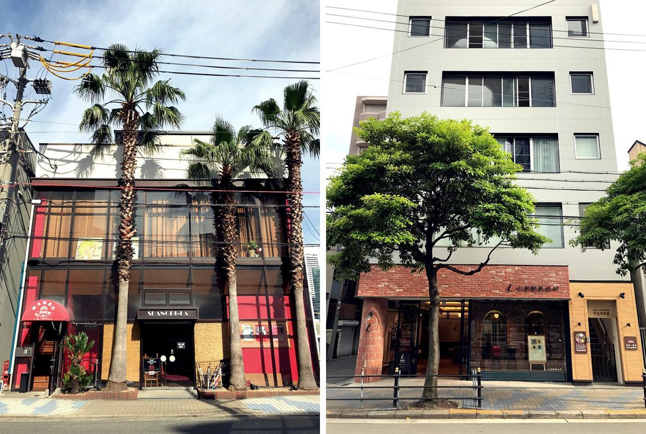 至近距離に老舗のライブハウス(左)や革製品の専門店(右)。飲食店も充実してます